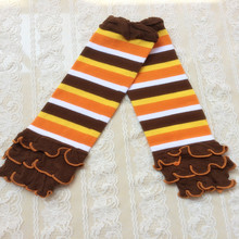 Holiday Gift ,Yellow orange white brown striped leg warmer ,Knit Ruffle Baby Girls Leg warmer ,Spring Arm Warmer for kids