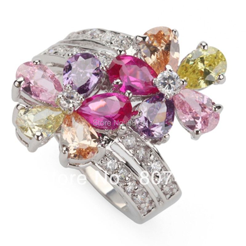 Trendy Pink Amethyst Morganite Peridot Cubic Zirconia fashion Silver Plated Recommend Flower RING R504 sz#6 7 8 9(China (Mainland))