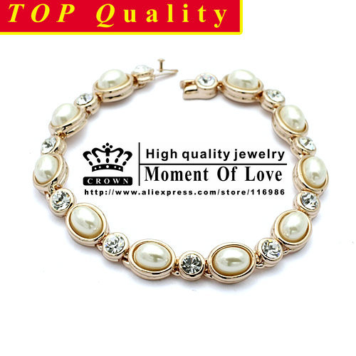 Free shipping 1PCS(CROWN B-003)Imitation Pearl 18K Gold Plated Bracelet Jewelry Made with Genuine SWA Elements Austrian Crystals<br><br>Aliexpress