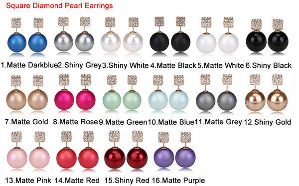 square diamond pearl earrings 2