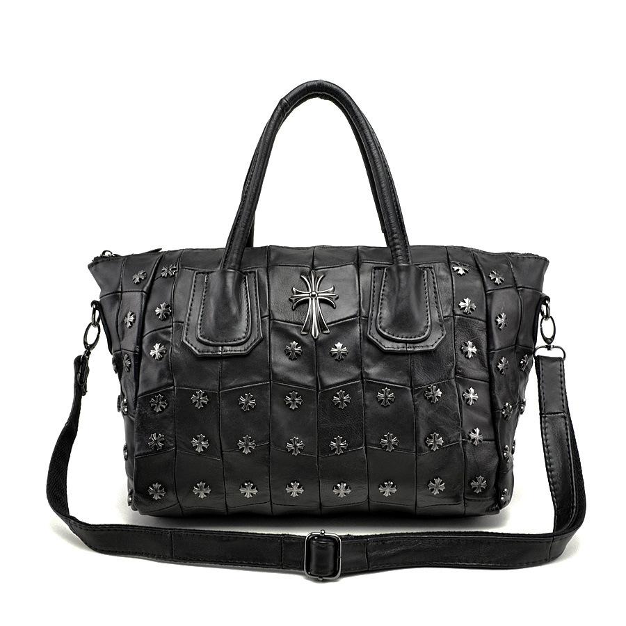 Cross Rivet Genuine Leather handbag Sheepskin Splice  Leisure wild Korean ladies black Portable shoulder messenger bags hg0366