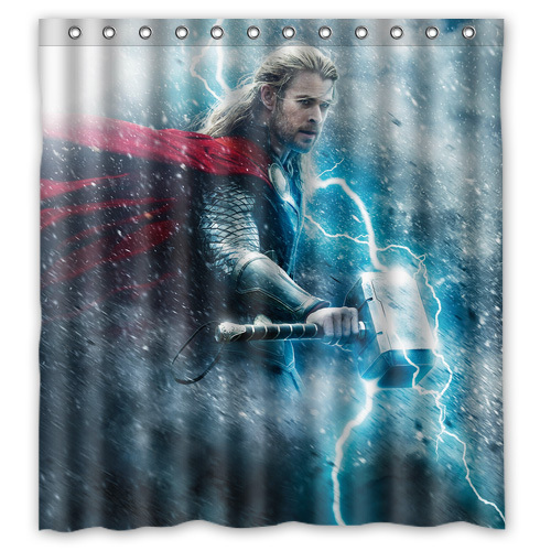 Thor Chris Hemsworth Cool Custom Designer Fashion Waterproof Shower Curtain Bathroom Curtains 36x72, 48x72, 60x72, 66x72 inches(China (Mainland))