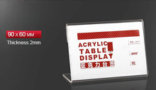 90X60mm 10pcs Tag ticket card display stand Acrylic table Desktop display  Paper Name plate Displayer Label Sign Holder Stand(China (Mainland))