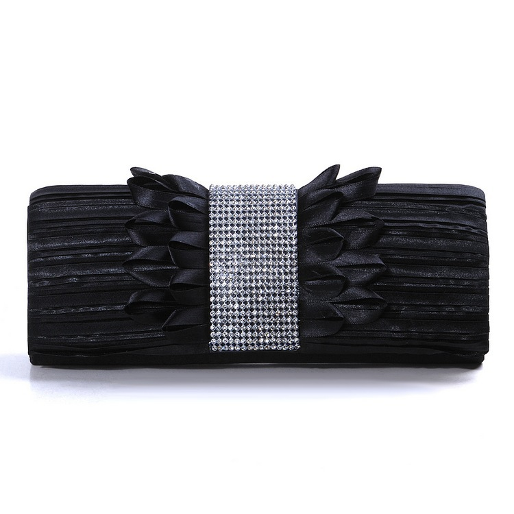 Big Sale Black Women Bridal Evening Clutches Ruched Satin Clip-on Clutch Rhinestones Ruffled Wedding Party Handbag - Dragon River store