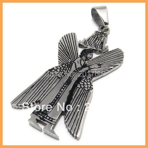 Punk rock accessories Fashion stainless steel angel pendant necklace free shipping 79132(China (Mainland))