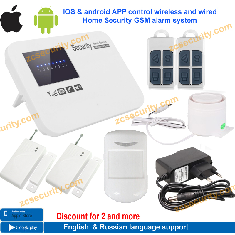 free shipping IOS & android APP control Intercom wireless GSM alarm system security home kit with relay English,russian language(China (Mainland))