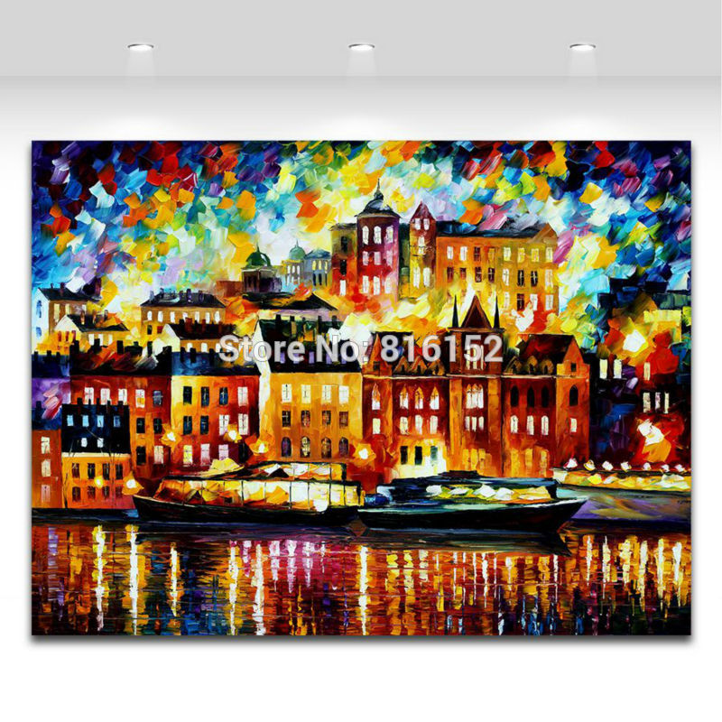 Buy 100% Hand-painted Palette Knife European Cityscape Architecture Art Canvas Painting for Home Office Wall Decor No Frame cheap