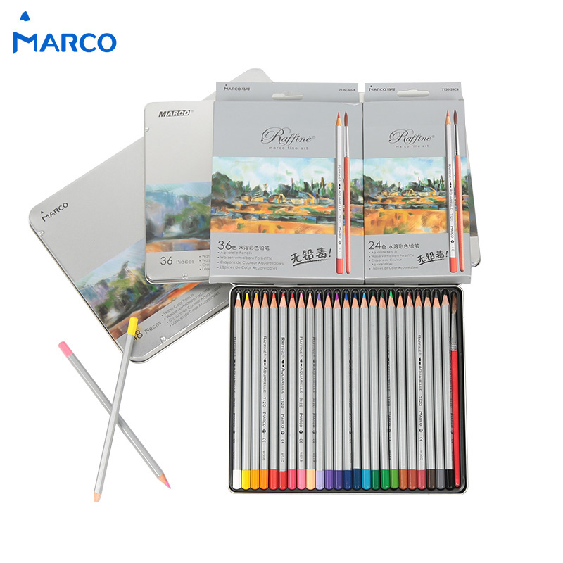 Marco 7120-36tn Marco Advanced Professional Colored Pencil Oily Colored Pencil Set 36 Iron Boxed Art Supplies Student Stationery