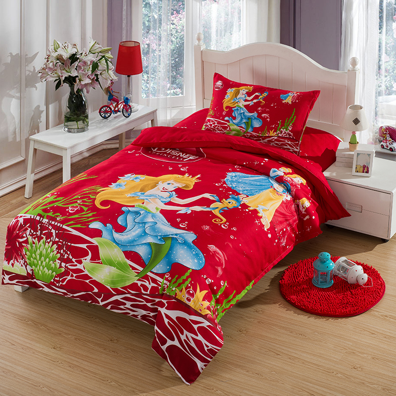 Mermaid princess comforters and quilts red bed sheets for Designer inspired bedding