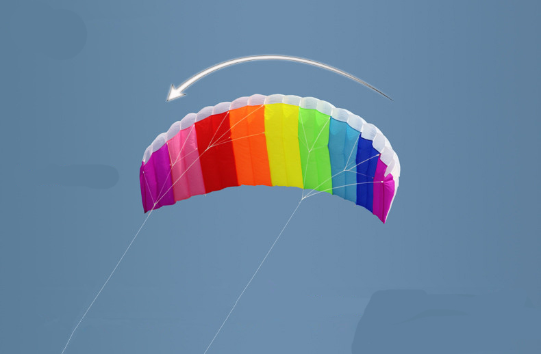 High Quality 2m Dual Line Parafoil Kite With Control Bar Line Power Braid Sailing Kitesurf Rainbow Sports Beach(China (Mainland))