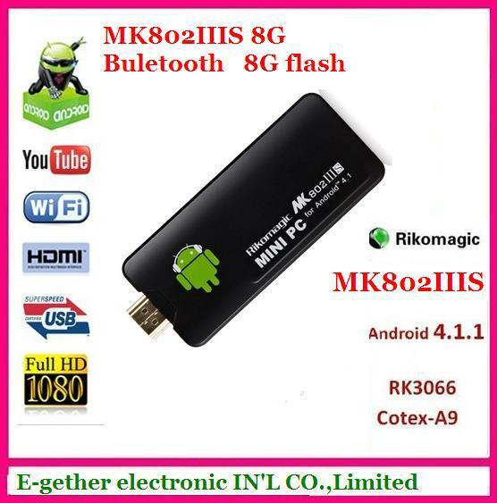 hot sale forRikomagic MK802 IIIS Mini PC Blue Tooth Mobile Remote Control RK3066 Cortex A9 1GB RAM 8G ROM HDMI TF Card