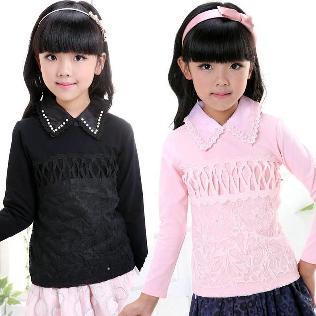 Высокое качество осень детские хлопок майка дети девушка дна рубашки кружева с длинным рукавом топы