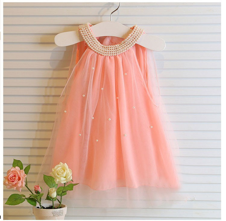 Children's dress fashion baby girls Pure color pearl collar Tutu Princess Dress Girl's dresses summer style for kids clothes(China (Mainland))