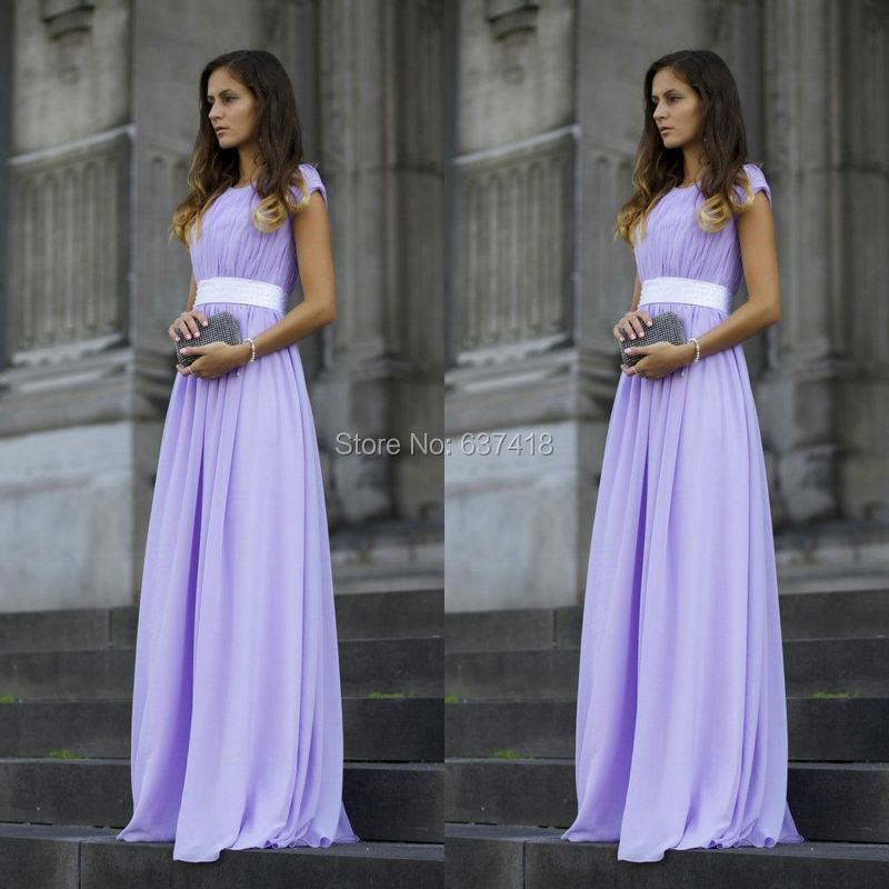 Light Purple Lavender Prom Dress Bridesmaid Dress Cap