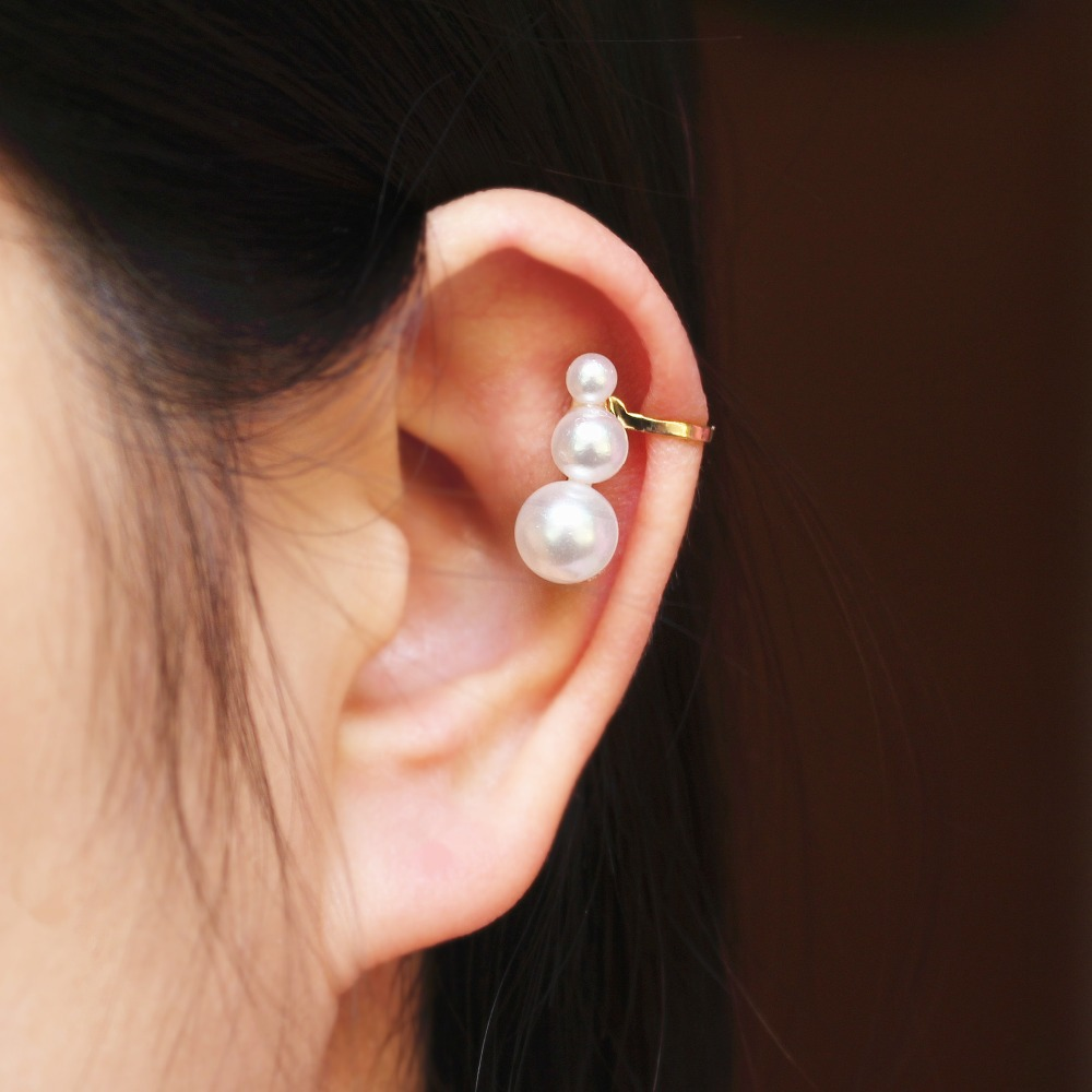 2015 New Fashion Brincos Ear Cuff Small Round Pearl Lovely Clip Earrings For Women ear clips Jewelry Wholesale Free Shipping(China (Mainland))