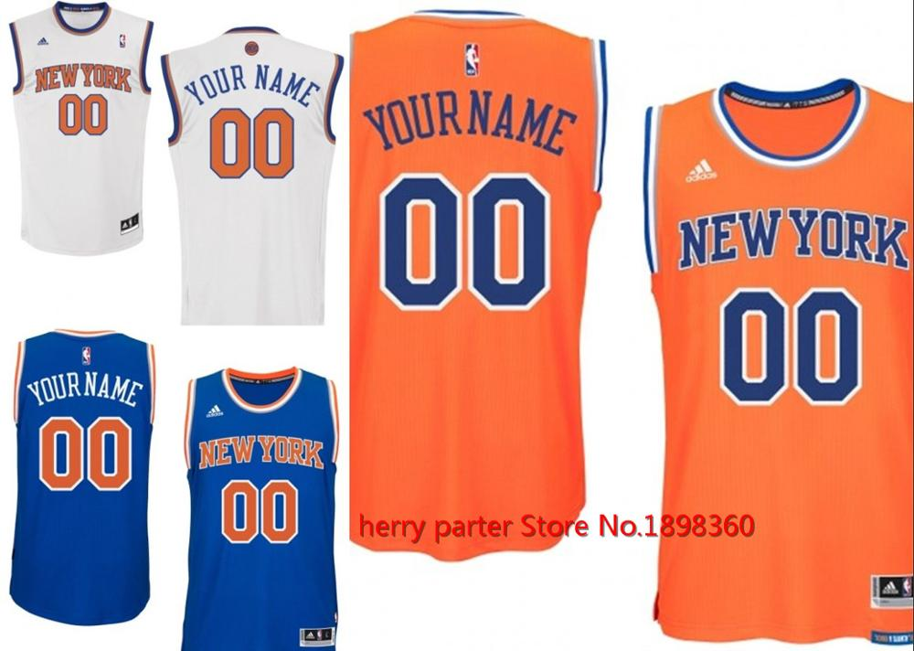 100% stitched new york knicks Personalized Embroidery Logos Customized Any Name And Number Men Women youth size S to 3XL(China (Mainland))