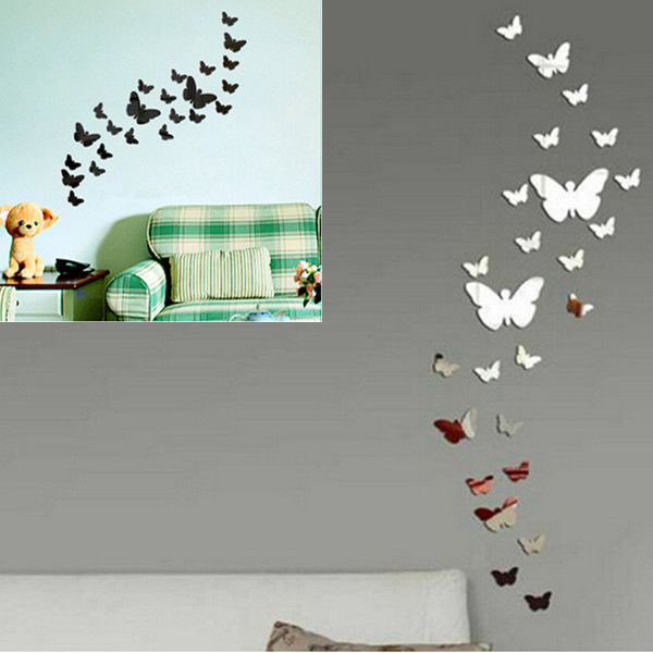 2014 Hot 3D 1Set/25pcs Butterfly Wall Sticker DIY Decoration Home Art Decal DIY Room Mirror Wall Stickers(China (Mainland))