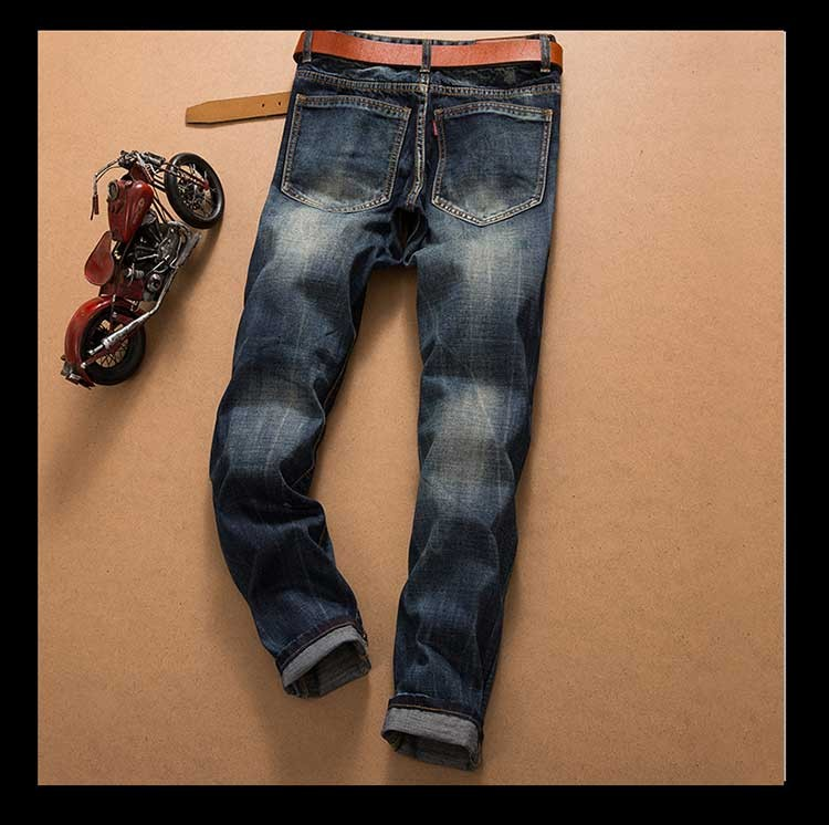 2016 men's new hole retro jeans worn bordado denim trousers fashion men straight  stitching multi hole  the wind wash pants