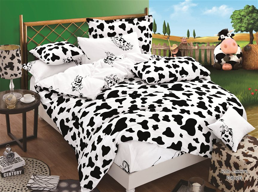 Black-and-White-Cow-Cheetah-Zebra-Print-Bedding-Set-Cotton-Bedroom-Set-Comforter-Cover-Pillowcase-Bed White Christmas Trees On Sale