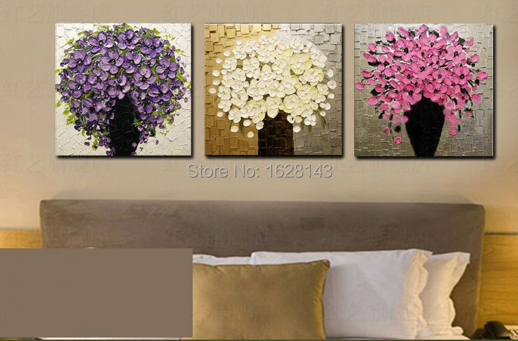 Free Shipping 3 Pieces Cheap Hand Painted Modern Wall Painting Home