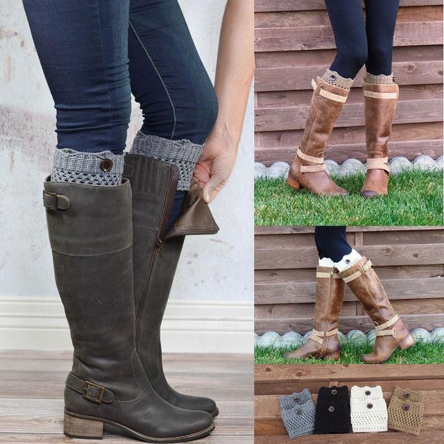 Women Ladies Girl Winter Leg Warmers Button Crochet Knit Boot Socks Toppers Cuffs