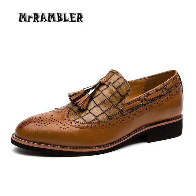 Мужчины кожаные ботинки коричневый оксфорды острым носом туфли-свадебная туфли черный ...