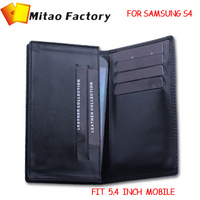 2014 Fashion Luxury Leather Wallets  For Samsung Glaxy S3 S4 Leahter Case Black Sheep Leather 5.4 Inch Mobile Phone Men Purse
