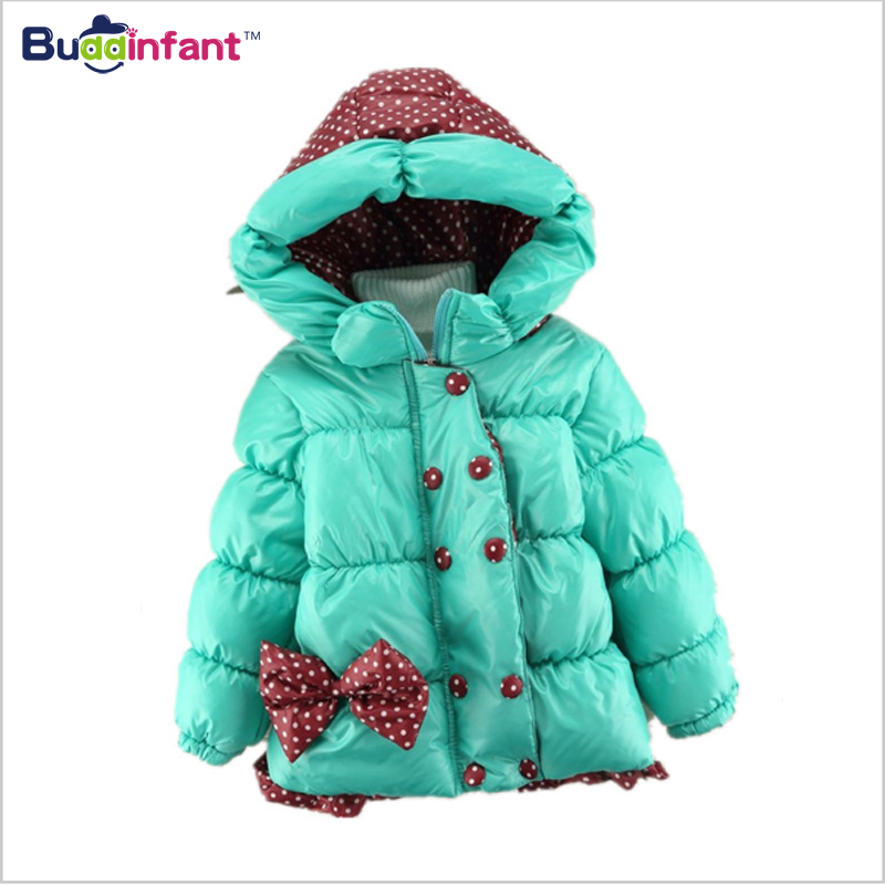 Buddinfant Baby Girls Winter Coat 2017 New Children Dot Bowknot Hooded Jacket Kids Warm Cotton parkas Outwear for kid girl child