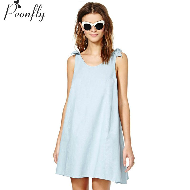 2016 Summer style suspenders vestidos dresses Bow tie draped shoulders relaxed and comfortable vest dress A pendulum(China (Mainland))