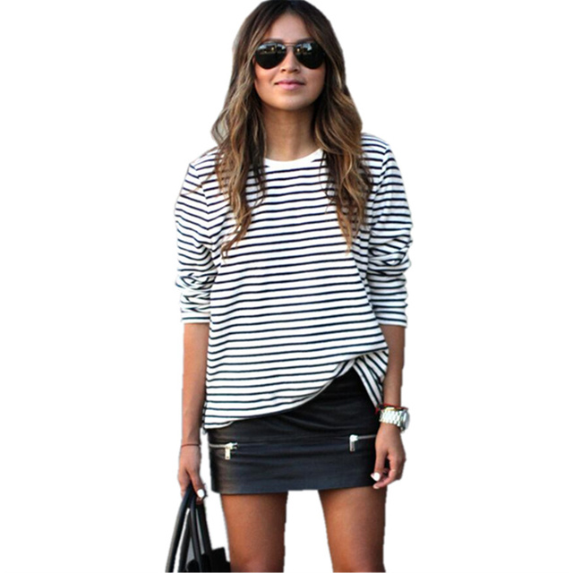 2016 autumn long sleeve tshirt women black and white for Black and white striped long sleeve shirt women