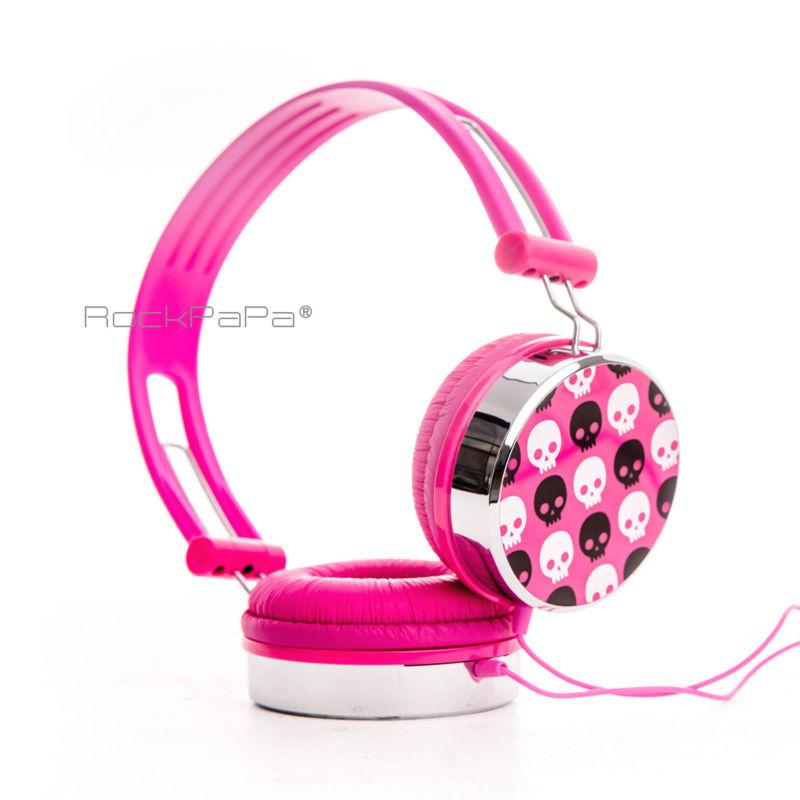 Rockpapa Over Ear Skull Pattern STEREO Headset DJ Headphones For Boys Girls Kids Childs Teens Laptop Phones Tablets MP3 DVD(Hong Kong)