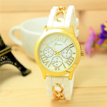 2015 New Dress Casual Quartz Clock Female Popular Relogio Luxury Diamond Wristwatches Women Silicone Platinum Chain Watch Girls