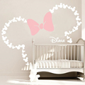 Ideal Large Wall Stickers X inch Mickey Mouse Head with Bow PERSONALIZED Girl NAME wall decals Nursery Kids Room Wallpaper JBUSD piece