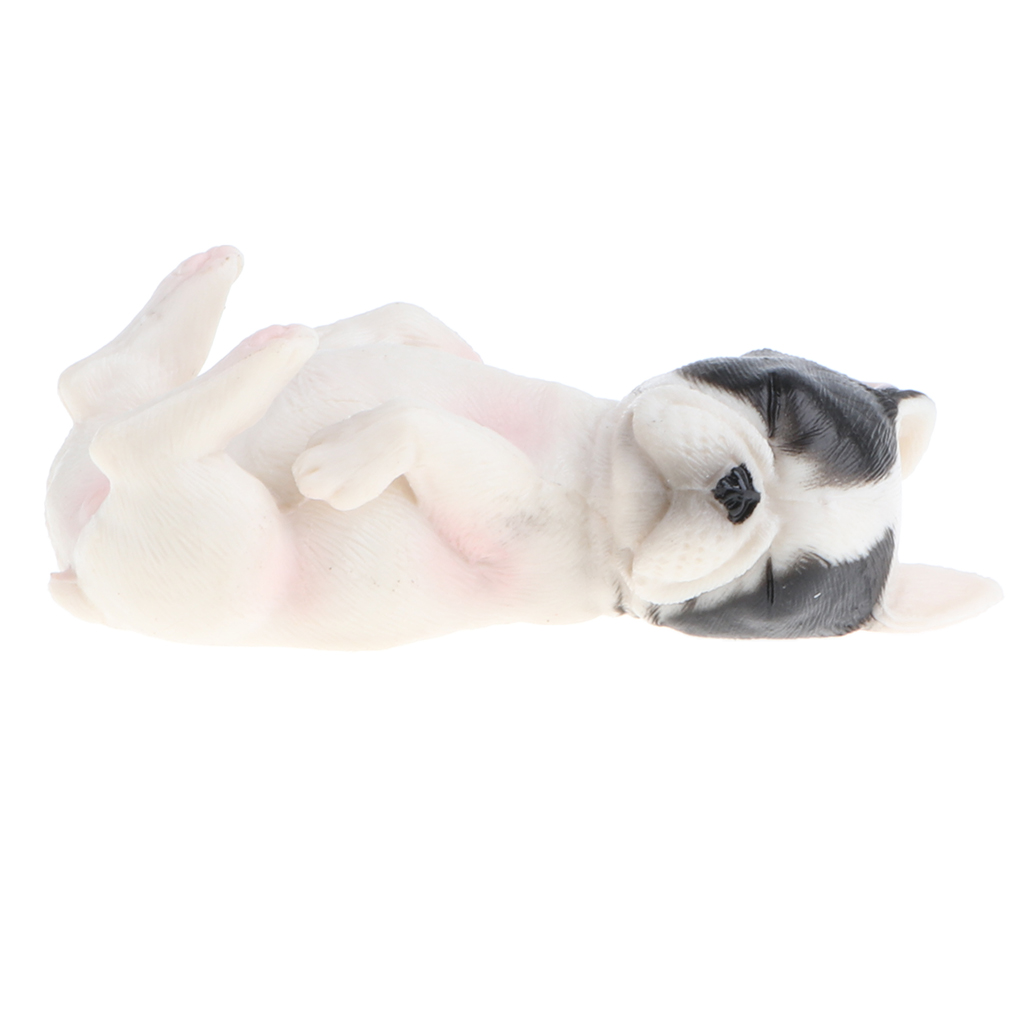 Plastic Realistic Forest Ocean Animals - Sleeping French Bulldog Dog Puppy Action Figure Pet Eduactional Toys Collectibles #C