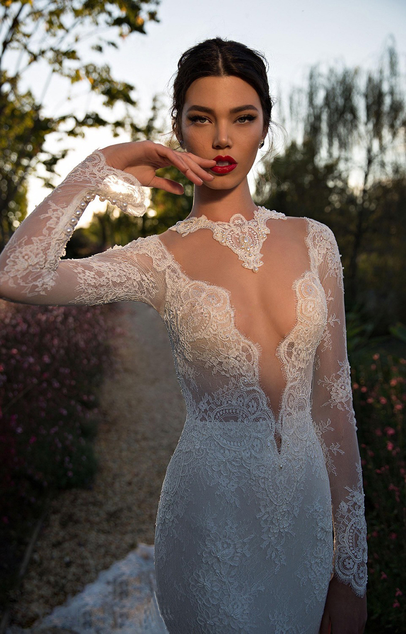 2016 New Robe De Mariee Sirene Long Tailing Deep V Neck Back Transparent Lace Wedding Dresses Sexy Mermaid Wedding Dress wh1555(China (Mainland))