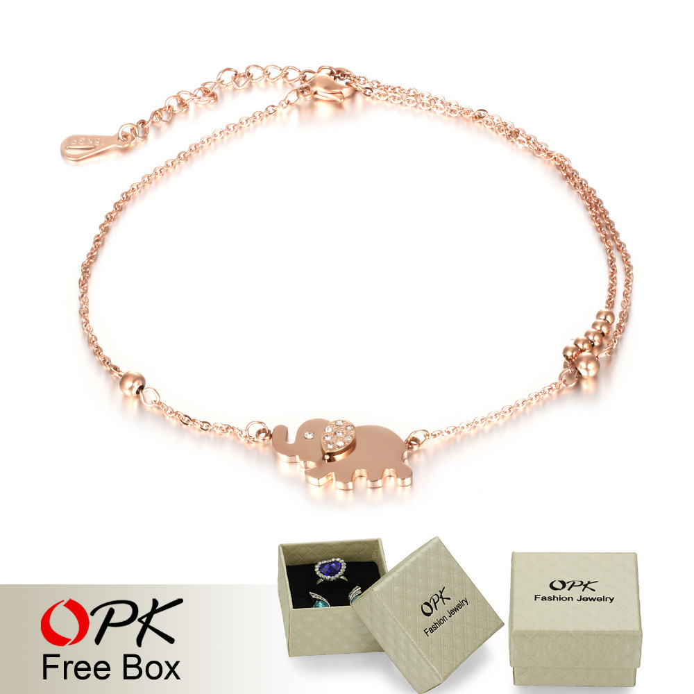 OPK Cute Elephant Woman Anklets Trendy Rose Gold Plated Stainless Steel + Cubic Zirconia Women Ankle Jewelry Bracelet GZ022(China (Mainland))