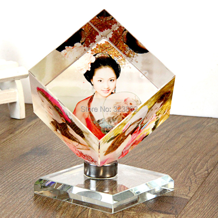 Novelty Souvenir 3D engraved crystal wedding gifts DIY crystal photo frame 360 rotate magic crystal cube JD-1314(China (Mainland))