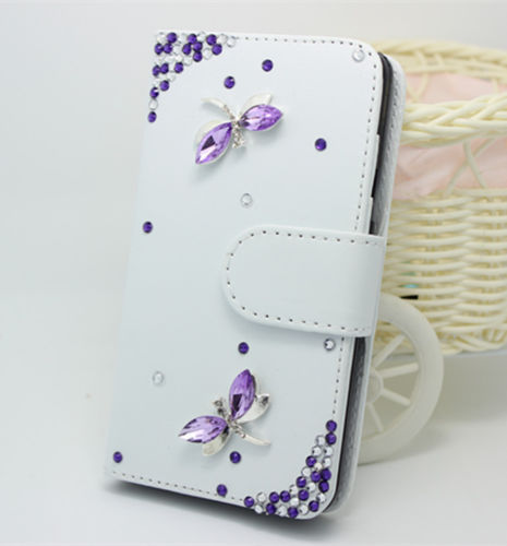 Purple diamond dragonfly White PU leather wallet filp case cover skin with stand For HTC Desire 310(China (Mainland))