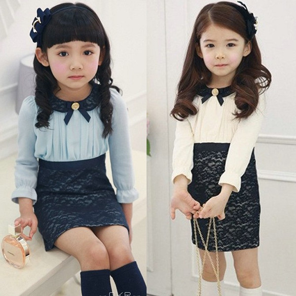 (CZ0367)2014 peter pan collar girls clothing baby child long-sleeve dress dresses kids Princess Dress lace - Sweet Heart Fashion Store store