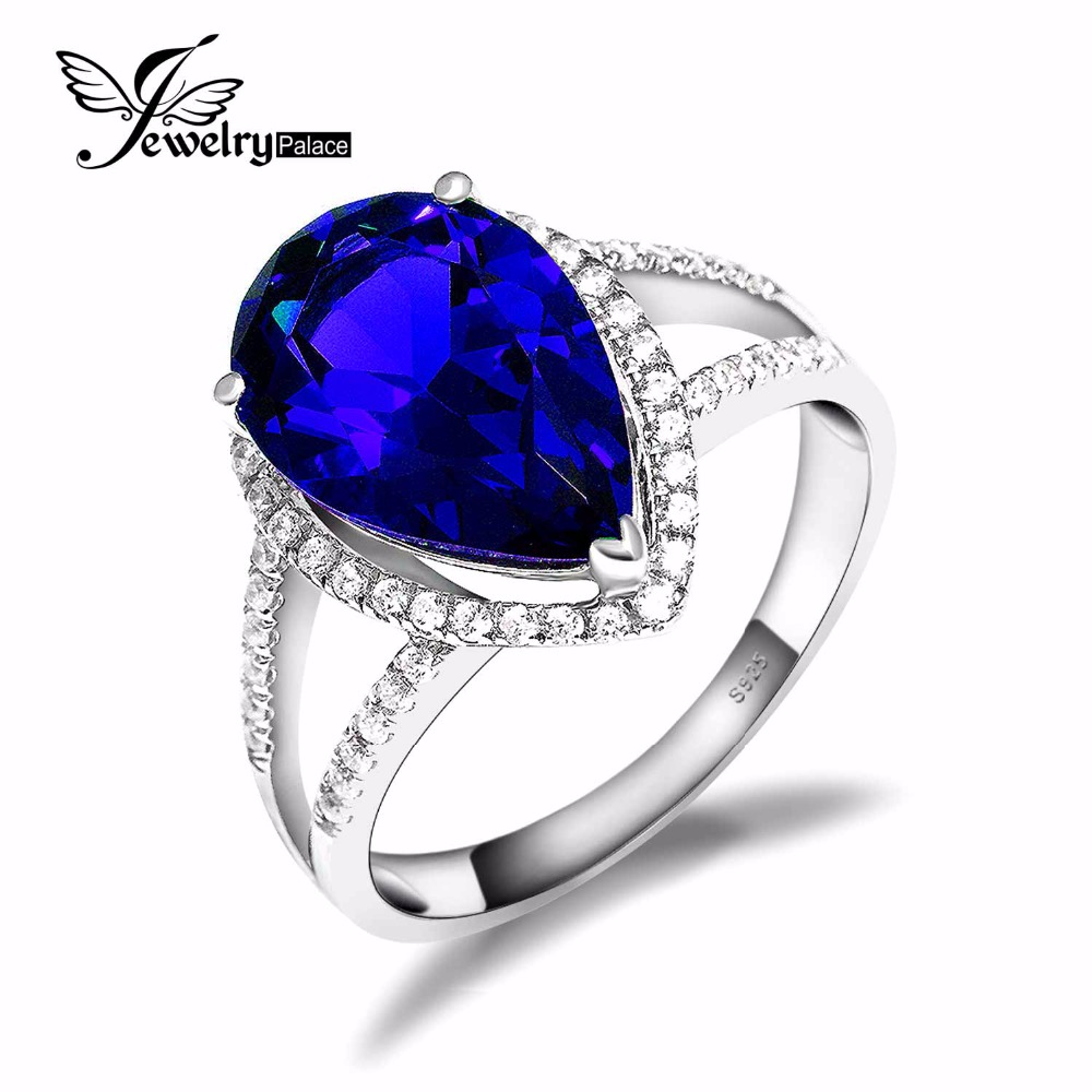 5.7ct Blue Sapphire Ring Genuine 925 Solid Sterling Silver Pear Cut 2015 Brand New Women Fashion Wedding Fine Jewelry - Jewelrypalace Gemstones store