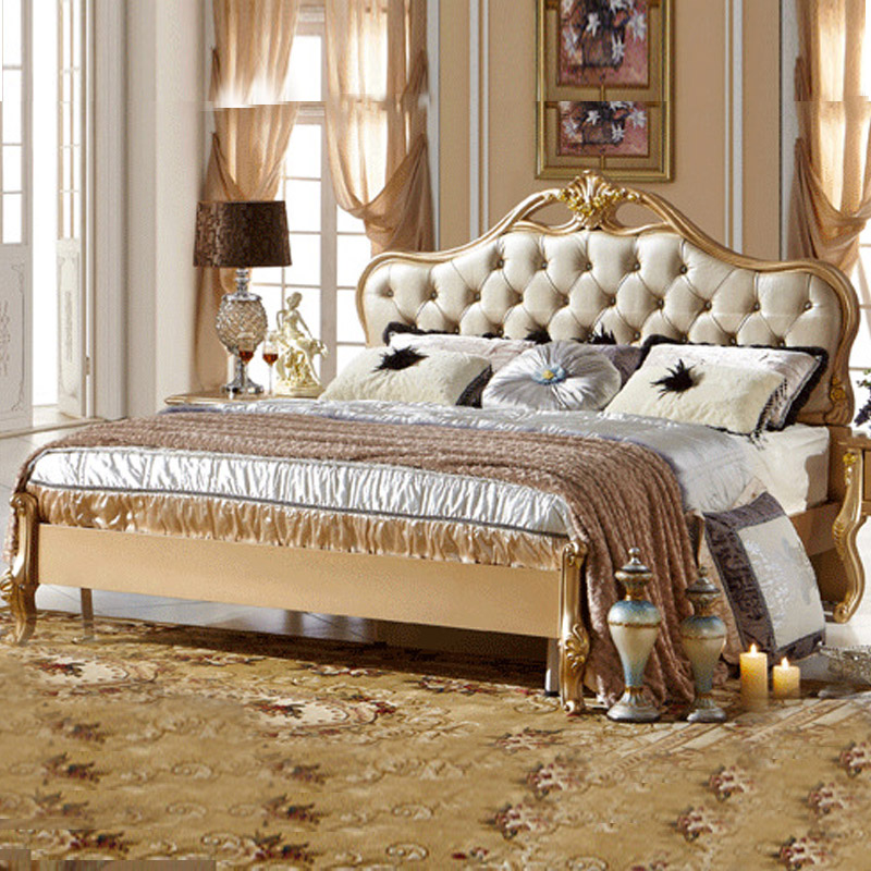 European Style Double Bed New Champagne Gold Leather Wedding Bed Special 1.8 Meters Princess Bed(China (Mainland))