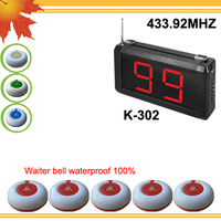 433.92mhz Call button system 99S w 1 pc wireless waiter and 5pcs waiter bell waterproof K-99S+O1