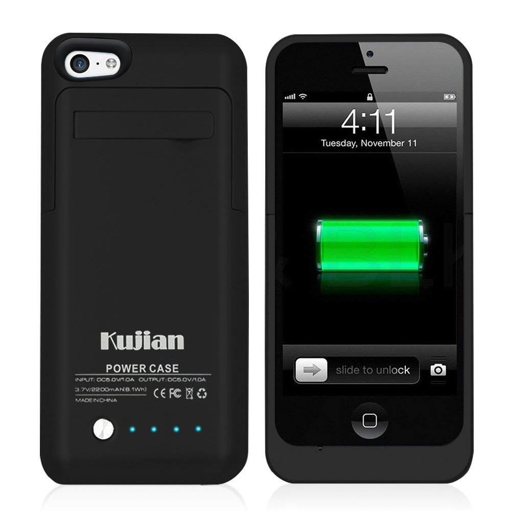 2200mAh Portable Backup External Battery Rechargeable Power Bank Powerbank Charger Stand Case Cover Fundas For iPhone 5 5S 5C SE(China (Mainland))