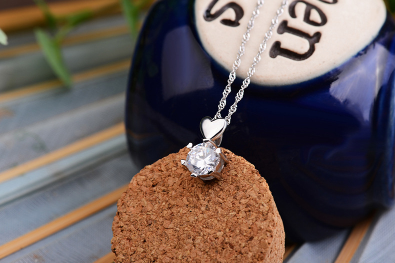 Free Shipping 925 Sterling Silver Jewelry AAA Zircon CZ Diamond Six Claw Maxi Necklace Necklaces & Pendants For Women(China (Mainland))