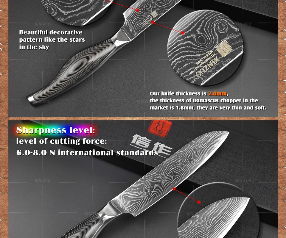"Buy 5"" inches santoku knife Japanese VG10 Damascus kitchen knives Japanese chef fruit knife forged wood steel handle FREE SHIPPING cheap"