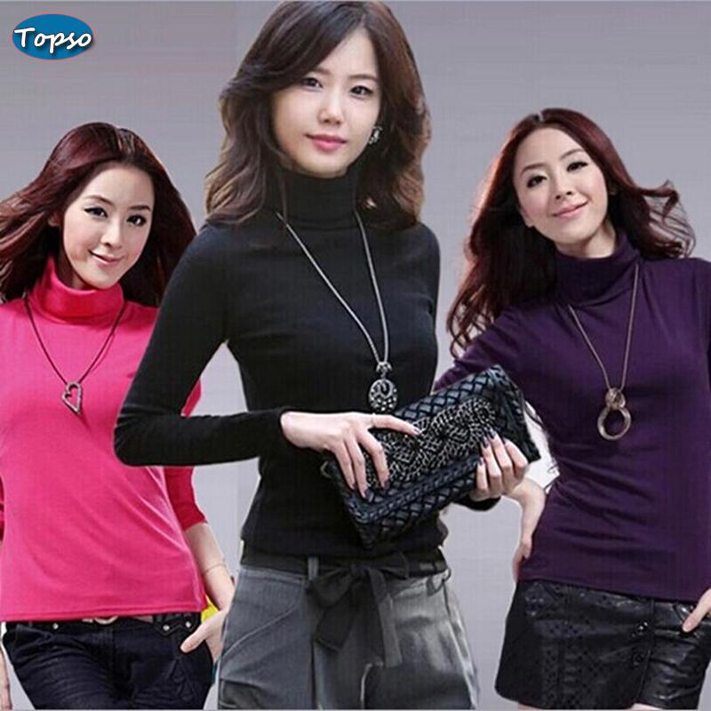 Hot Sale Women Autumn Winter Cotton Basic T-shirt Elegant Turtleneck Long Sleeve Bottoming Slim Tee Shirt Candy Colors Lady Tees(China (Mainland))
