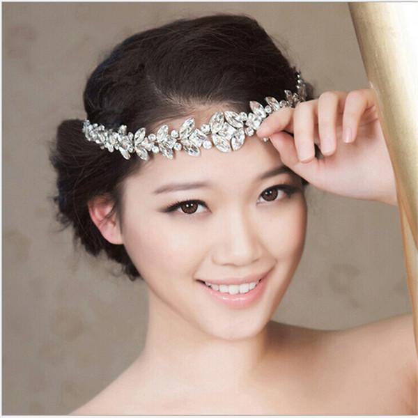 Fashion cute charm women hair chains elegant crystal wedding bridal hair pieces silver hair jewelry for Bride Bridesmaid DRF209(China (Mainland))