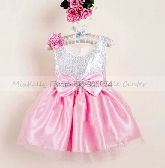 2014 New Baby girl Christmas Dress flower party bow, Kids princess Dress, girls Pageant wedding dress 3-4 years - MixKelly Children Clothes Center store