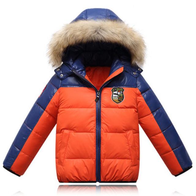 Зима мальчиков с капюшоном пальто детская одежда меховой воротник утолщение мальчик пуховик белая утка вниз лоскутное мальчик зимнее пальто parka