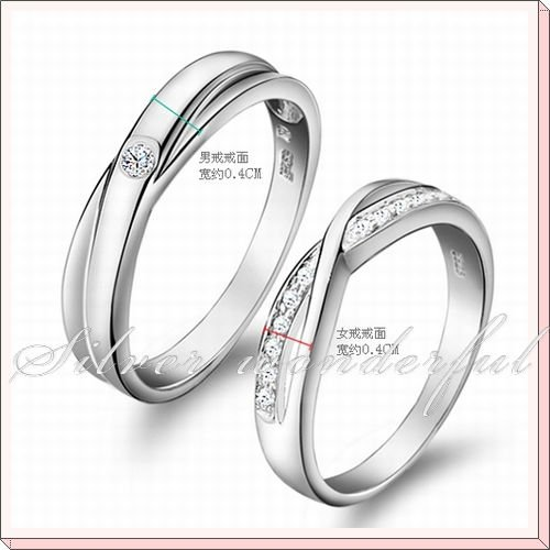 Fashion Design 925 Sterling Silver Rings Lovers,Engagement Real Zircon Couple Rings,Silver Ring WR117 - Wonderful Jewelry store